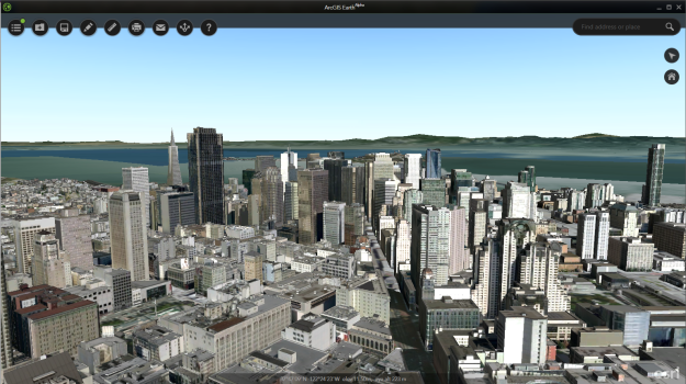 Pictometry data for San Francisco - streaming via a Scene Service in ArcGIS Earth.